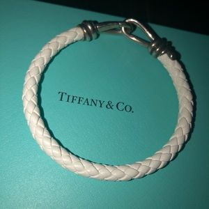 Tiffany & co Silver White Braided Leather Bracelet